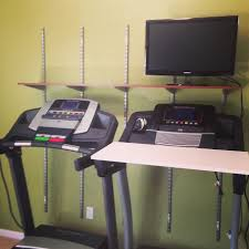 diy walking treadmill desk and shelves installed saving the
