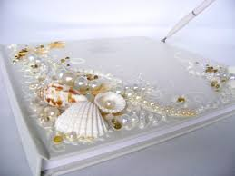 large wedding guest book wedding guest book starfish seashells original large 2 jpg