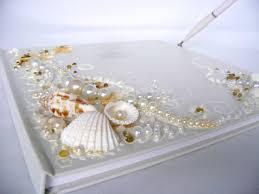 large wedding guest book wedding guest book starfish seashells original large 2 jpg
