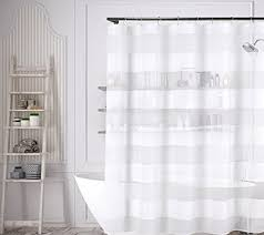 Wide Fabric Shower Curtain White Fabric Shower Curtain Wide Stripe Design 70 X