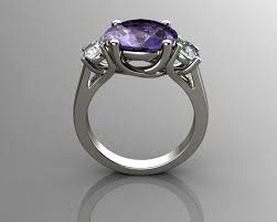 amethyst diamond engagement ring tanzanite and diamond engagement ring 18k white gold 3d model 3d