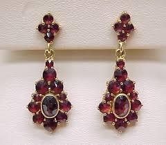 garnet earrings bohemian garnet ornate dangle earrings 18k gold from