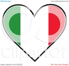 clipart illustration of a heart shaped green white and red