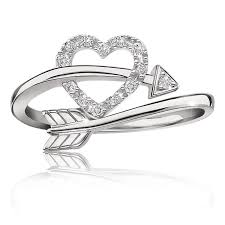 heart ring heart arrow diamond ring in sterling silver