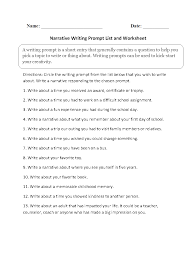 writing prompts worksheets narrative writing prompts worksheets