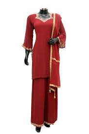 redcolor red color embroidered palazo set fdn776 481