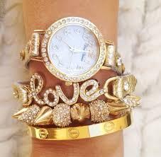 rose gold bracelet set images Jewels gold white bracelets set bracelets watch gold watch jpg