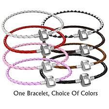 european charm bracelet clasp images Braided leather charm bracelet for women fits jpg