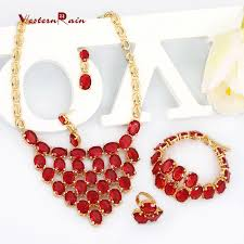 red necklace online images Hot red color full imitation stone necklace costume jewelry sets jpg