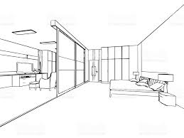 Blueprint Of House by Outline Sketch Drawing Interior Perspective Of House Stock Vector