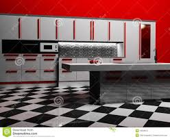 Modern Kitchen Interior Modern Kitchen Interior In White And Red Color Royalty Free Stock