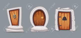 vector illustration set of cartoon medieval entrance doors from