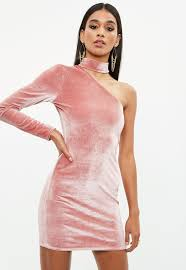 pink dress pink velvet choker dress missguided