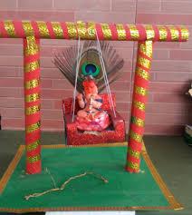 recycled newspaper krishna jhula for janmashtami at home craft