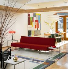 Living Room Red Sofa by Modern Red Sofa Living Room Eclectic With Wall Art Tufted Area Rugs