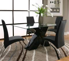 Rectangular Glass Top Dining Room Tables 5 Piece Rectangular Glass Top Table With Black Base And Black