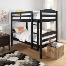 Black Bunk Beds Size Bunk Bed Convertible Wood Ladder Black Finish