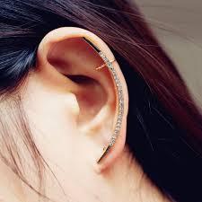 earrings all the way up 2017 hot new fashion rhinestone clip earrings for women shiny