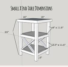 free plans for a tall and skinny x end table with 2 shelves build
