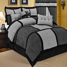 Grey King Size Comforter Set 7pc New Comforter Set Patchwork Micro Suede 5 Colors Ebay