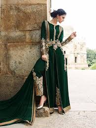 Pakistani Wedding Dresses Green Latest Pakistani Wedding Wear Suit With Embroidered Pants
