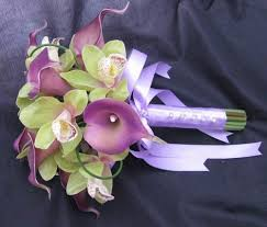 purple calla touch bouquet looped purple calla green orchid
