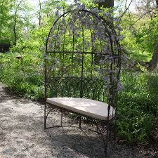 outdoor metal arch bench black seat chair garden arbour decorative