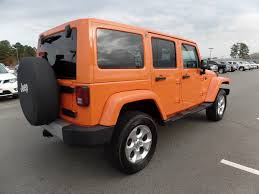 jeep wrangler orange 2013 used jeep wrangler unlimited 4wd sahara heated leather
