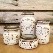 Mason Jar Bathroom Decor Mason Jar Desk Set Mason Jar Bathroom Set Painted Mason Jars
