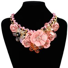 chunky necklace pendants images Us women lady chain crystal floral statement bib chunky necklace jpg