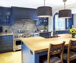 blue kitchen cabinets with wood countertops google search