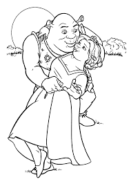 shrek and fiona coloring pages for kids printable free couples