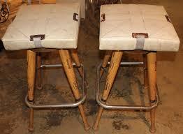 pair custom baseball bat bar stools with base seat cushions