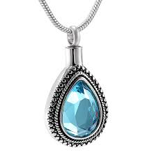 urn necklace for ashes tear shaped blue cut glass urn necklace cremation jewelry