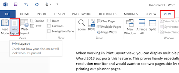 layout view zoom view multiple pages in word 2013 at once