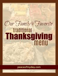 our family favorite thanksgiving menu peace of my day
