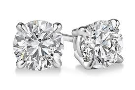 gold diamond stud earrings 0 25 carat diamond stud earrings four prong in 14kt white
