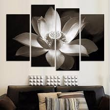 art painting for home decoration 4panels black and white simple lotus flower modern wall art home
