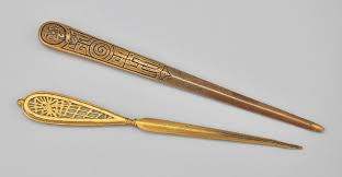 two gilt bronze tiffany studios letter openers 11 21 09 sold 230