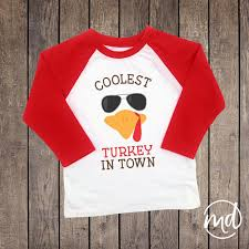coolest turkey in town boys thanksgiving shirt