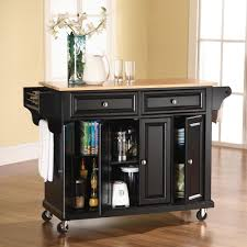 rolling butcher block island kitchen island black portable