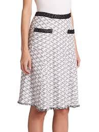 st john macro twill knit flared skirt in white lyst
