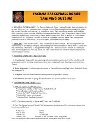 tacoma basketball board training outline