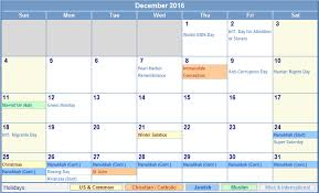 december 2016 calendar with holidays monthly calendar printable