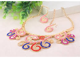 collar bib necklace images Twisted flower floral collar bib necklace earrings set new PNG