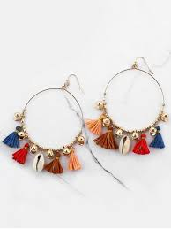 hook earrings bohemian shell tassel circle hook earrings colormix earrings zaful