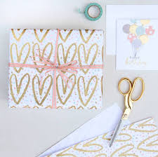 pretty wrapping paper gold hearts glitter wrapping paper by letteroom notonthehighstreet
