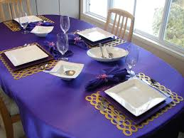Table Setting Chargers - kitchenqueers com kq purple and white place setting table top