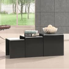 Black Glass Side Table Nested Black Glass Coffee Side Tables