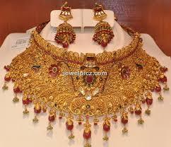 gold choker necklace set images Khazana jewellers bridal gold choker necklace designs latest jpg